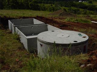 Empty wetland concrete cells - on-site sewage