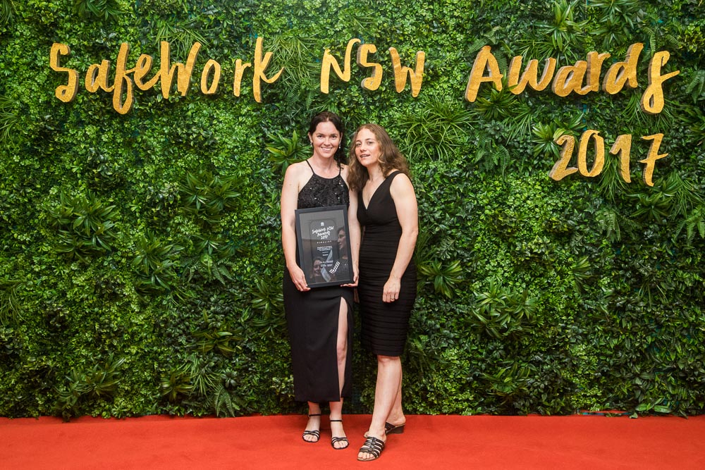 Lise Bolton and Stefanie Stanley at the SafeWork NSW Awards